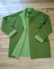 Jones New York 1X Open Front Wool Coat Cardigan Green Sweater Blanket Lagenlook