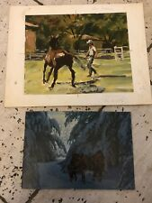 (2) DON STIVERS Original Oil Paintings on Board Signed Horse