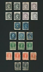 NOVA SCOTIA STAMPS 1860-1863 QV SET WITH VARIETIES, Sc #8/13 MINT & USED