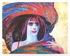 Ernst Fuchs - Mädchen mit großem Hut - handsigniert