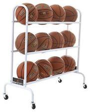 Durable Ball Storage Cart With Wheels Rack 12 Basketball Balls Space Saving