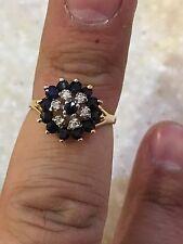 YELLOW 10K GOLD 13 STONE SAPHIRE AND tiny Natural Diamonds