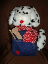 Dalmatian Puppy Dog Door Stop Jean Bandana Plush Soft Toy Stuffed Animal 15""
