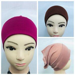Women Ladies UnderScarf Hijab Tube Bone Bonnet Cap MANY Colour Stretchable Black