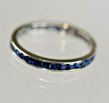 Vintage 14 Karat White Gold Natural Blue Sapphire Channel Band Anniversary Ring