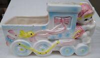 "Vintage Rubens Ceramic Baby Nursery Train Planter Container 8.5"" Long X 5"" High"
