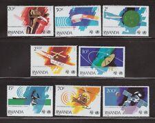 Telecomm Navigation set of 8 mnh stamps 1981 Rwanda #1043-50 Ship Satellite Drum