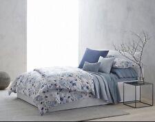 NIP Calvin Klein Twill Fern Bellflower Watercolor Peonies Blue Queen Flat Sheet