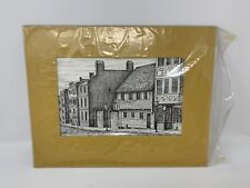 VINTAGE 1970s Paul Reveres House, MATTED PRINT BY CLARK M. GOFF