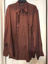 Babacuta Men's Size L Shirt Brown/ Dark 100% Silk Soie Ships N 24h