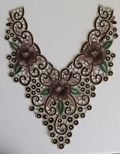 BORDE de encaje bordado en Cuello Escote Apliques de ajuste del cuello costura artesanía Marrón