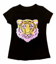 KIDS EMOJI TIGER EMOTICON SMILEY FACE T SHIRT TEE TOP BRUSH CHANGING SEQUIN 3-14