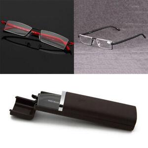 Unisex Half Frame Semi Rimless Reading Glasses Presbyopic Eyewear with Case Box
