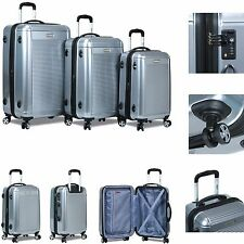 New Dejuno 3 Piece Polycarbonate HardShell Spinner Suitcases Luggage set-Seliver