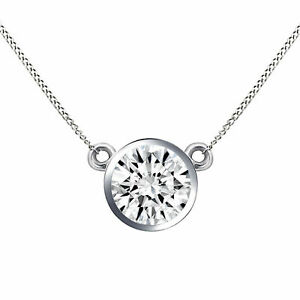 1/4 Ct Natural Real Diamond Bezel Pendant Necklace + Chain 14K White Gold