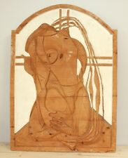 Vintage abstract surrealist nude hand carving wood wall hanging plaque