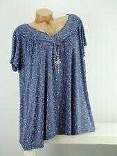 Shirt mit Kette Top Tunika Bluse Lagenlook Größe 46- 54 one size blau geblümt w