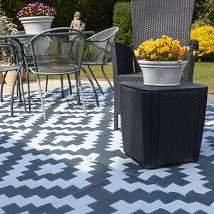 Valiant Outdoor Patio and Decking Rug - Geometric Grey - Various Sizes