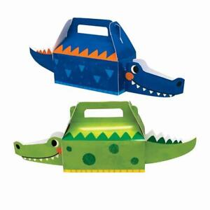4 x Alligator 3D Treat Favour Party Boxes Crocodile Reptile Boys Birthday Party