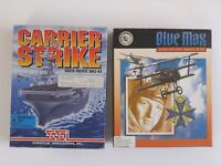 "Carrier Strike South Pacific & Blue Max IBM PC Games 3.5"" Floppy Disks - CIB"