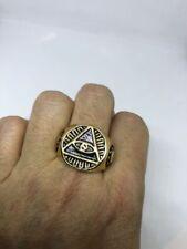 Vintage Golden Stainless Steel Illuminati Eye Crest Size 10.25 Men's Ring