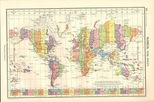 1952 MAP ~ WORLD TIME ZONES ~ ASIA EUROPE AMERICA AUSTRALIA GREENLAND
