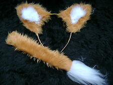 Bright Gold Fox Ears And Tail Set Instant Fancy Dress Faux Fur Fox Handmade