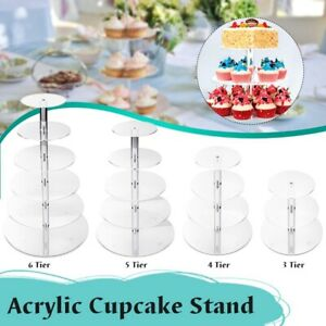 3/4/5/6/7 Tier Clear Circle Round Birthday Cake Display Rack Stand Wedding CA