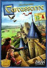 CARCASSONNE TILE BOARD GAME WITH RIVER & THE ABBOT EXPANSION PACKS Z-MAN AGE 13+