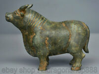 "6.4 ""Vieux Chine Bronze Ware Feng Shui Zodiac Year Animal Bull Cattle Statue"