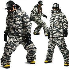 Top Quality SOUTH PLAY Waterproof Ski Snowboard Suits Coat Jacket Pants CAMO SET