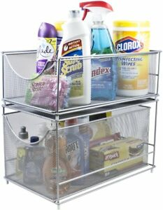 Sorbus Cabinet Organizer Set —Mesh Storage Organizer with Pull Out Drawers—Ideal