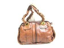 Auth Chloe Heloise Brown Leather Handbag