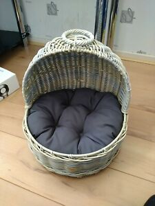 Cat Basket. Wicker With Cushion & Handle. Never Used.