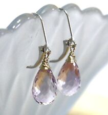 Natural Pink Amethyst Earrings in Solid 14K White Gold Wire Wrapped Briolette
