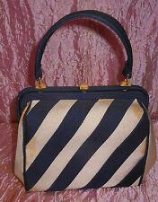 Borsa borsetta stoffa blu e panna rigida anni '60 Vintage Bag V4 ^