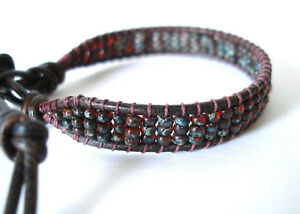 Smokey Topaz Picasso Beaded Leather Wrap Bracelet Handcrafted
