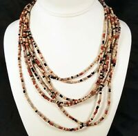 Cookie Lee NEW w TAG Multi-Strand Browns Neutrals Seed Bead Necklace | NWT 11301