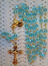 AQUA BLUE AB CRYSTAL ROSARY - 18K GOLD PLATED MADE IN CZECH