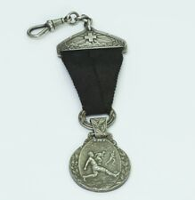 Antique Silver & Ribbon Soccer Watch Fob