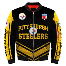 Pittsburgh Steelers Pilot Bomber Jacket MA1 Flight Thicken Coat Football Outwear