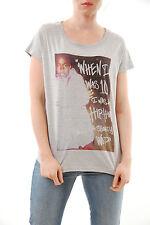 Eleven paris women's Nas shorty wop col rond t-shirt gris taille s neuf BCF59