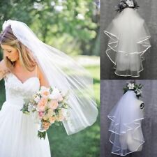 2T Short White Ivory Pearl Satin Edge Bridal Wedding Elbow Length Veil + Comb