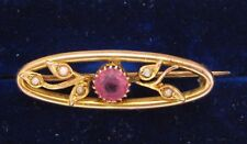 Antique 9ct Yellow Gold Brooch with 5 Seed Pearls & a Synthetic Pink Tourmeline