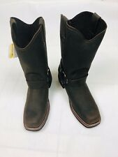 BONANZA Men's Saddle Biker Boots Genuine Leather Size 9 Brown