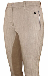 "Mark Todd Ladies Linen Stretch Breeches Latte 26"""