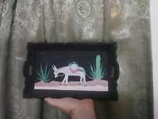 Folk Art Primitive Hand Painted Wooden Tray Donkey Mexico Humorous Burro Cute