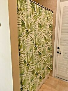 Pottery Barn Palm Frond Leaves Shower Curtain