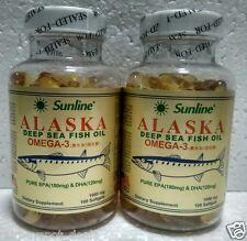 SUNLINE ALASKA Deep Sea Fish Oil ~ OMEGA-3 1000mg ~Dietary Suppl~ 2x100 Softgels