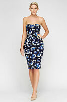 Women's Floral Print Navy Blue Strapless Midi Wiggle Pencil Dress UK Sizes 8